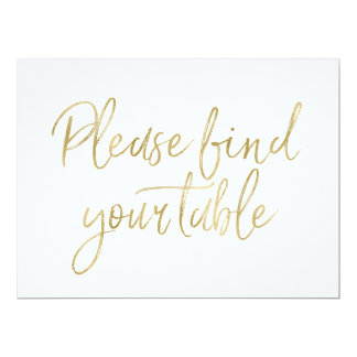 """Stylish Gold """"Please find your table"""" Sign Card"""
