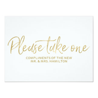 """Stylish Gold """"Please take one"""" Wedding Favors Sign Card"""
