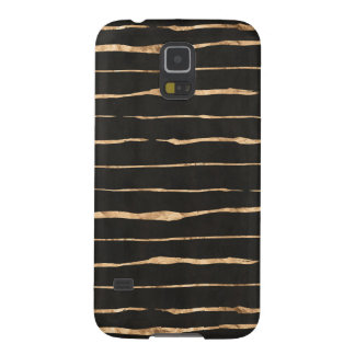Stylish Gold-Rose & Black Modern Pattern Case For Galaxy S5