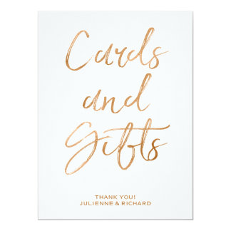 Stylish Gold Rose Lettered Cards and Gifts Sign