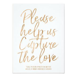 Stylish Gold Rose Lettered Wedding Hashtag Sign Card