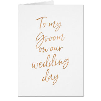 Stylish Gold Rose to my Groom on our wedding Card