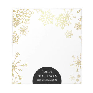 Stylish Gold Snowflakes Christmas Party Notepad