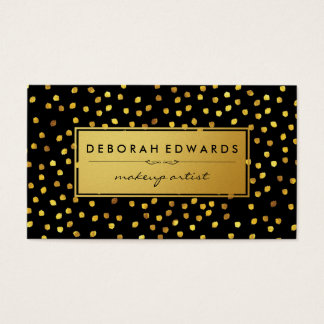 Stylish Gold Speck Pattern Black with Golden Label Business Card