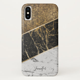 Stylish Gold Trendy Black & White Marble with Name iPhone X Case