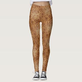Stylish Golden Brown Paisley Leggings