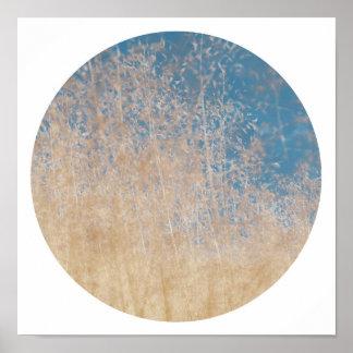 Stylish Golden Grass Blue Sky Dreamy Poster