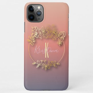 Stylish Golden Metallic Shiny Frame Personalized iPhone Case