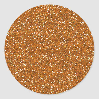 Stylish Golden Orange Glitter Classic Round Sticker