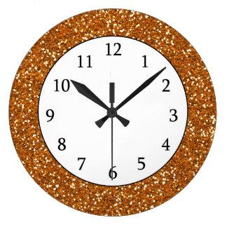 Stylish Golden Orange Glitter Clocks