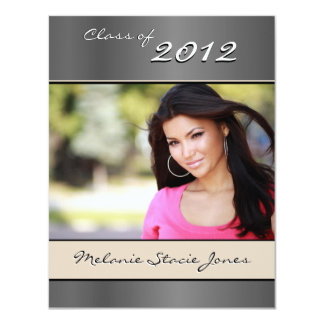 Stylish Grad Announcement / Invitation - Silver