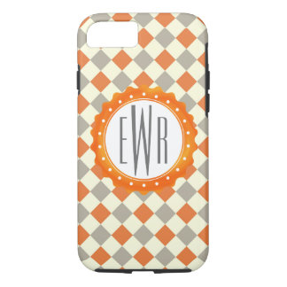 Stylish Gray and Orange Pattern with Monogram iPhone 8/7 Case