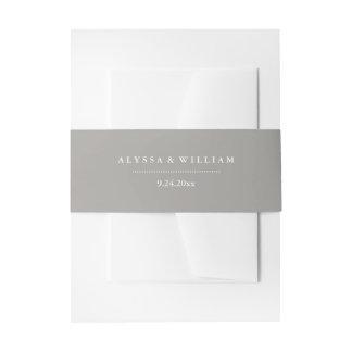 Stylish Gray and White Wedding Invitation Belly Band