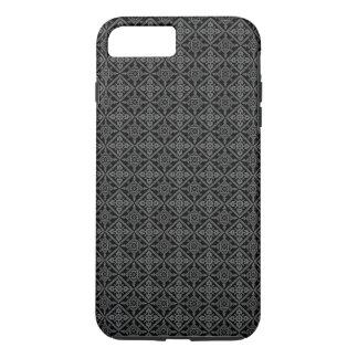Stylish Gray Baroque Pattern on Black iPhone 7 Plus Case