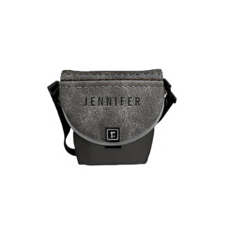 Stylish Gray Leather Look Commuter Bag