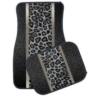 Stylish Gray Leopard Animal Print Pattern | Damask Car Mat