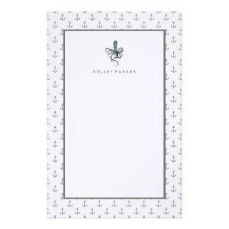 Stylish Gray Nautical Anchors and Octopus Stationery