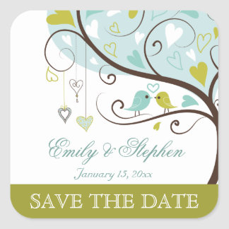 Stylish green and blue love birds save the date sticker