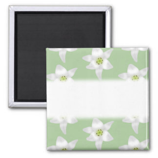 Stylish Green and White Lily Pattern. Square Magnet