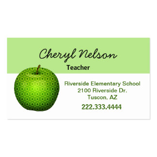 Stylish Green Apple Teacher's Business Card