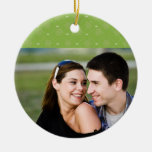 Stylish green Christmas holiday photo ornament