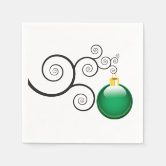 Stylish Green Christmas Ornament Disposable Napkins