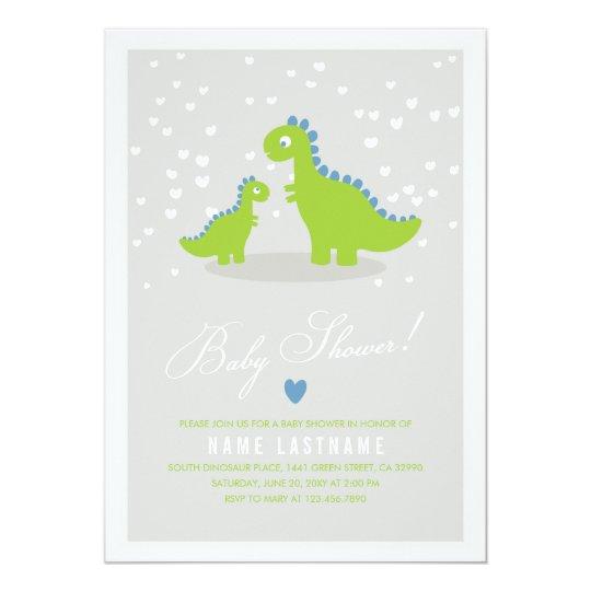 Stylish Green Grey Dinosaur Baby Shower Invitation