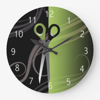 stylish green hair salon clock