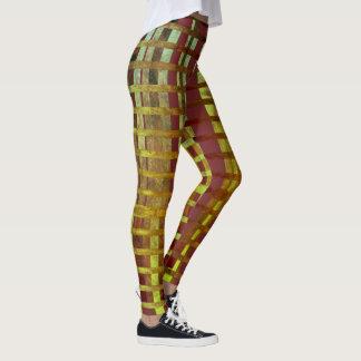Stylish Green & Purple Ombre Plaid Pattern Leggings
