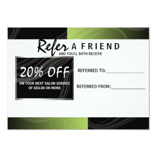 stylish green scissor hair salon referral card 11 cm x 16 cm invitation card