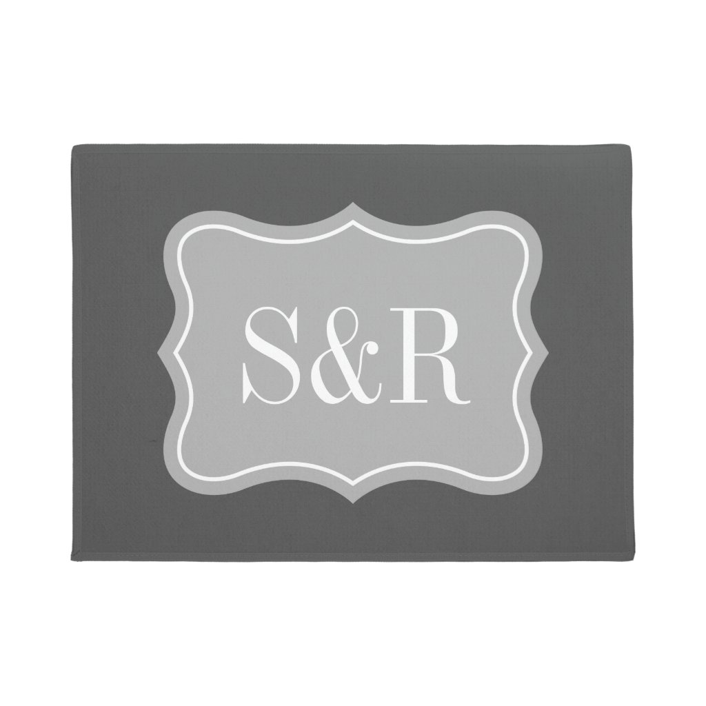 Monogram welcome door mat