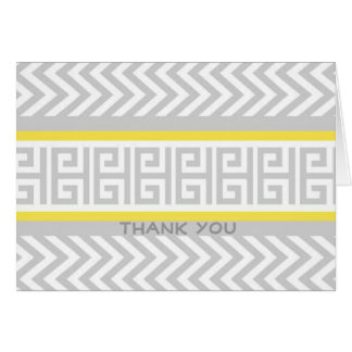 Stylish Grey and Yellow Chevron Thank You Notes