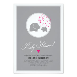 Stylish Grey Elephants Baby Shower Invitation