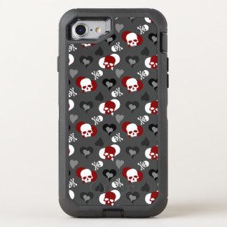 Stylish Grey Girly Skull Pattern OtterBox Defender iPhone 8/7 Case