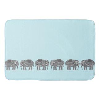 Stylish Grey Ornate Elephants Design, Modern Blue Bath Mat