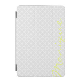 Stylish grey pattern with lemon text iPad mini cover
