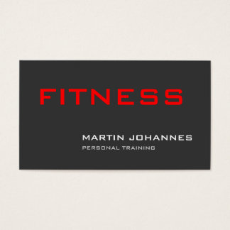 Stylish Grey Red Personal Trainer Business Card