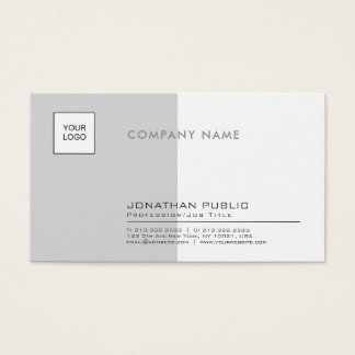 Stylish Grey White Professional Company Plain Business Card