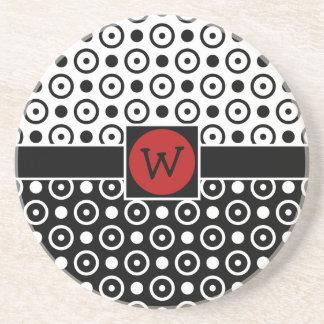 Stylish Half Black Half White polka dots Coasters