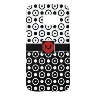 Stylish Half Black Half White polka dots monogram