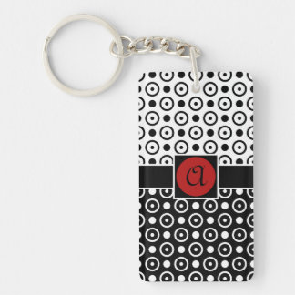 Stylish Half Black Half White polka dots monogram Double-Sided Rectangular Acrylic Key Ring