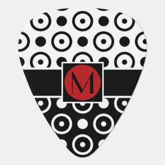 Stylish Half Black Half White polka dots monogram Plectrum