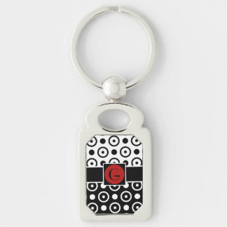 Stylish Half Black Half White polka dots monogram Silver-Colored Rectangle Key Ring