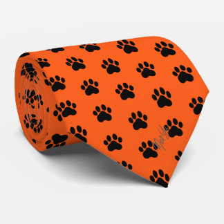 Stylish Hand Drawn Paws Silky Tie | Scarlet Orange