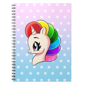 Stylish Hand Drawn Rainbow Unicorn School Notebook