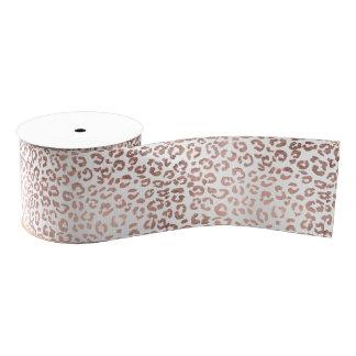 Stylish hand drawn rose gold leopard print grosgrain ribbon