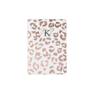 Stylish hand drawn rose gold leopard print passport holder