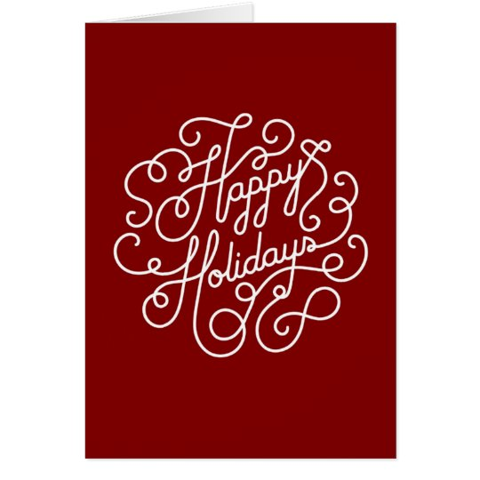 Stylish Happy Holiday Red And White Card