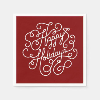 Stylish Happy Holiday Red And White Disposable Serviette
