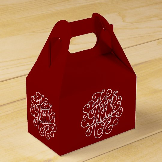 Stylish Happy Holiday Red And White Favour Box